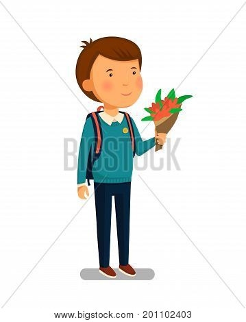 Schoolboy vector. Happy schoolboy with backpack holding bouquet of flowers for his teacher. Elementary school student. Flat cartoon illustration. First school year. Back to school. Vector illustration