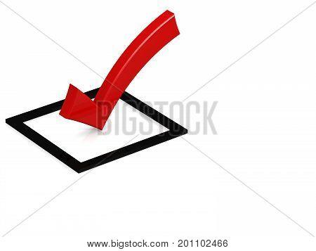 Red Tick In The Black Square Box