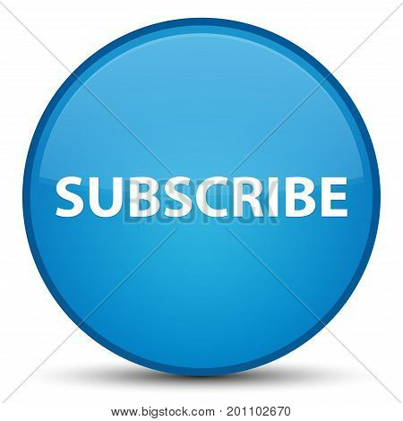 Subscribe Special Cyan Blue Round Button