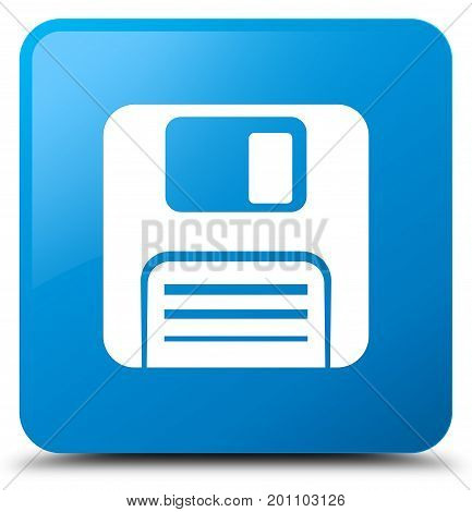 Floppy Disk Icon Cyan Blue Square Button