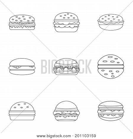 Hamburger food icon set. Outline set of 9 hamburger food vector icons for web isolated on white background