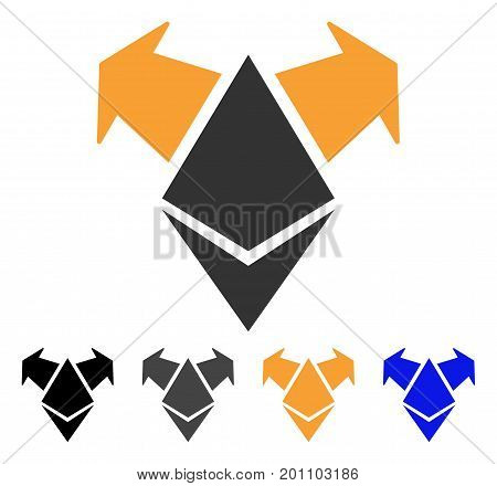 Ethereum Spend Arrows icon. Vector illustration style is flat iconic symbol with black, gray, orange, blue color variants. Designed for web and software interfaces.