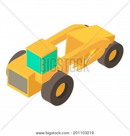 Motor grader machine icon. Isometric illustration of motor grader machine vector icon for web