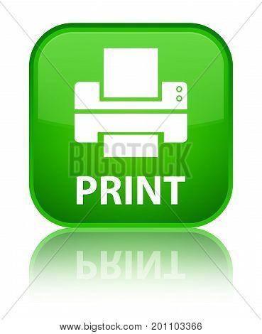 Print (printer Icon) Special Green Square Button