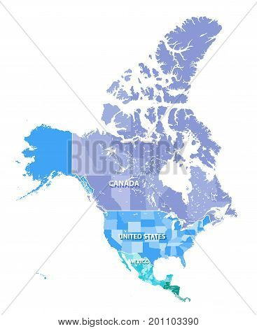 North America high detailed vector map with states borders of Canada, USA and Mexico. All elements separated in detached layers