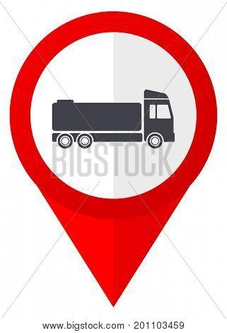 Truck, cistern red web pointer icon. Webdesign button on white background.