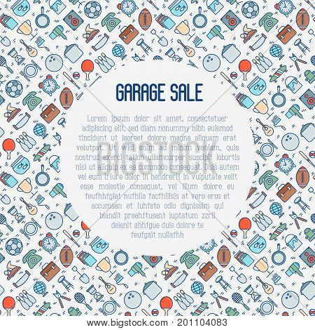 Garage sale or flea market concept with text inside. Thin line vector illustration for banner, web page, print media.
