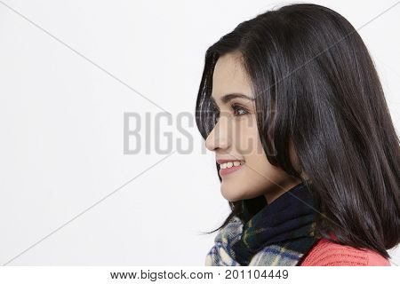 portrait of malay woman on the white background