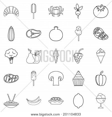 Parsley icons set. Outline set of 25 parsley vector icons for web isolated on white background
