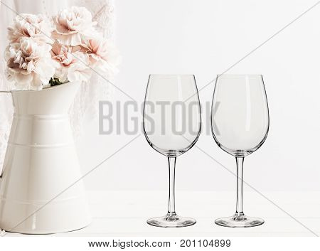 Floral Mockup - 2 Empty Wine Glasses