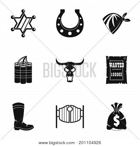 American wild west icon set. Simple set of 9 american wild west vector icons for web isolated on white background