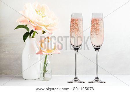Floral Mockup - 2 Champagne Glasses
