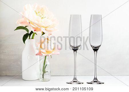 Floral Mockup - 2 Empty Champagne Glasses