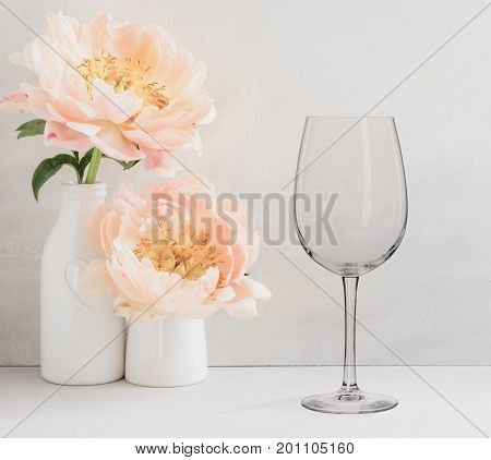 Floral Mockup - One Empty Wine Glass