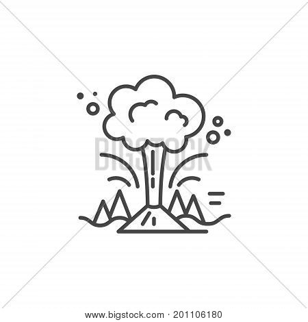 Linear illustration of a volcano. Vector line style icon.