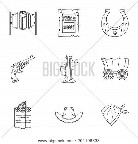 American cowboy icon set. Outline set of 9 american cowboy vector icons for web isolated on white background
