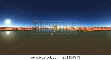 Computer generated 3D illustration with a spherical 360 degrees seamless panorama of the pterosaur Peteinosaurus over a desert oasis