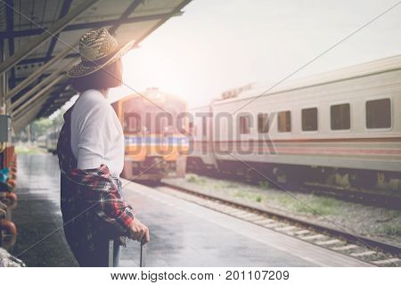 Enjoying Travel. Young Pretty Woman Traveling Classic Train For Travel In Summer. Travel Concept.