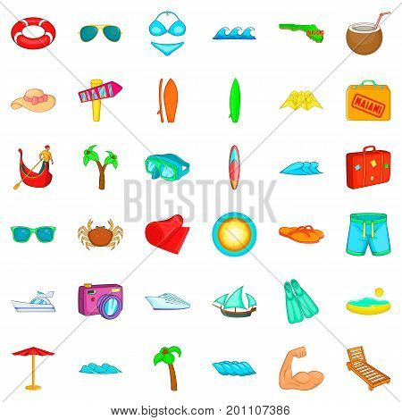 Vacation icons set. Cartoon style of 36 vacation vector icons for web isolated on white background