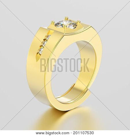 3D illustration yellow gold men signet diamond ring with reflection on a grey background