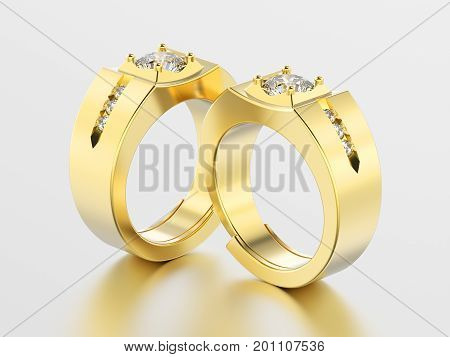 3D illustration two yellow gold men signet diamond rings with reflection on a grey background