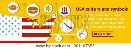 Usa culture and symbols banner horizontal concept. Flat illustration of usa culture and symbols banner horizontal vector concept for web