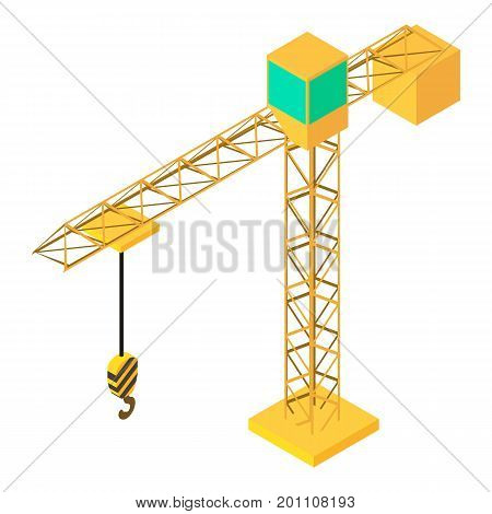 Building crane icon. Isometric illustration of building crane vector icon for web