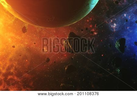 A Beautiful Flight In A Colorful Space With Asteroids With Sounds And A Planet 3D Illustration