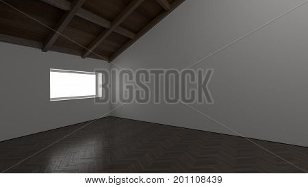empty room with reflection floor and white wall