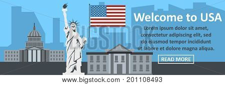 Welcome to usa banner horizontal concept. Flat illustration of welcome to usa banner horizontal vector concept for web