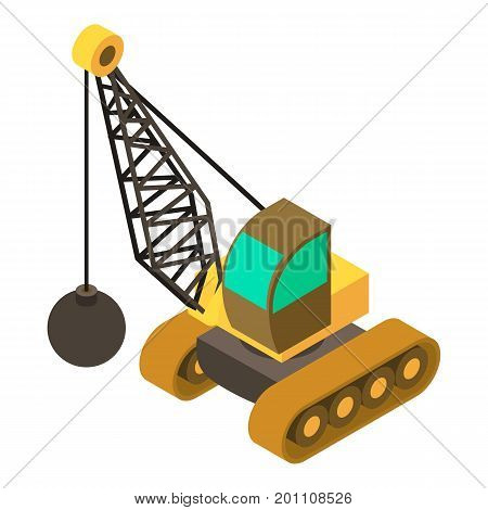 Wrecking ball crane icon. Isometric illustration of wrecking ball crane vector icon for web