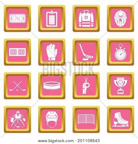 Hockey icons set in pink color isolated vector illustration for web and any design