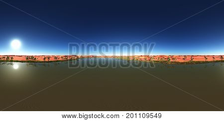 Computer generated 3D illustration with a spherical 360 degrees seamless panorama of a desert oasis