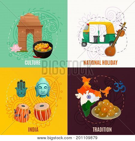 Indian culture and traditional symbols 2x2 design concept isolated on colorful backgrounds cartoon vector illustration