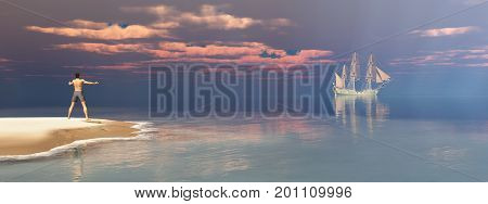 Computer generated 3D illustration with shipwrecked person and passing sailing ship