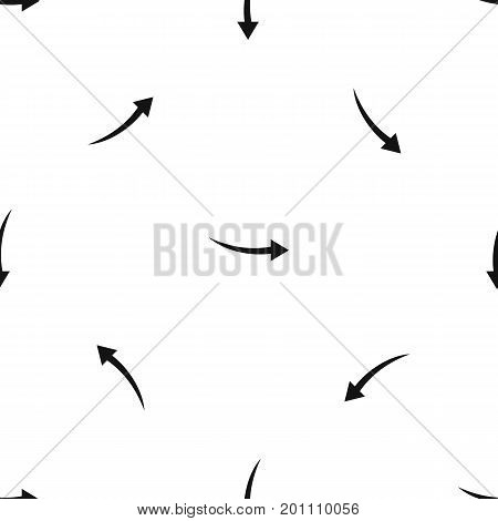 Curve arrow pattern repeat seamless in black color for any design. Vector geometric illustration