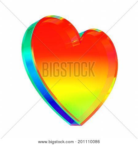 Multicolor Glass Heart On White Background. 3D Illustration.
