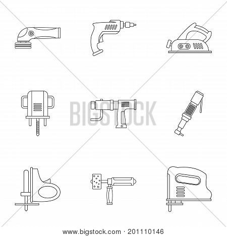 Construction tool icon set. Outline set of 9 construction tool vector icons for web isolated on white background