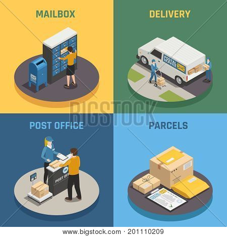 Post office mail delivery service 4 isometric icons square with mailbox parcels colorful background isolated vector illustration