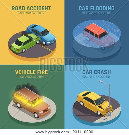 Auto insurance concept 4 isometric icons square for road accident damage and car fire damage isolated vector illustration