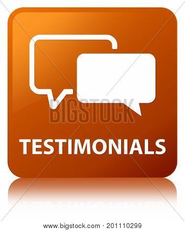 Testimonials Brown Square Button