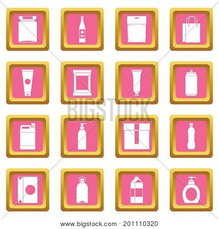 Packaging items icons set in pink color isolated vector illustration for web and any design