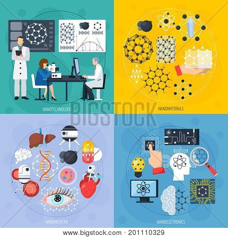 Nanotechnologies design concept with modern materials, electronics including sensors and artificial intelligence, medicine isolated vector illustration