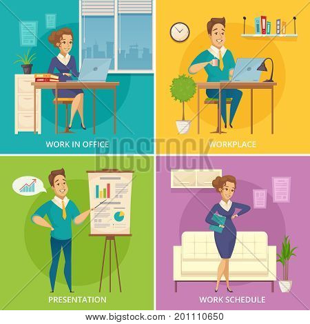 Office staff work place 4 retro icons square with retro cartoon characters on colorful background isolated vector illustration