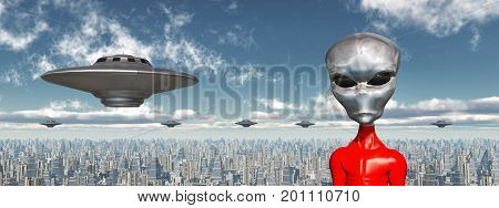 Computer generated 3D illustration with flying saucers and alien in front of a futuristic city