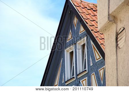 Detail Of A Trational German Timber Frame House In Waiblingen (baden-wuerttemberg)