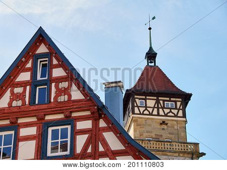 Detail Of A Traditional German Timber Frame House In Waiblingen (baden-wuerttemberg)