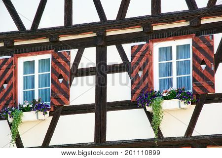 Flowers On A Traditional German Timber Frame House In Waiblingen (baden-wuerttemberg)