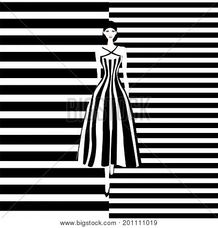 Fashion Model Black And White Stripes