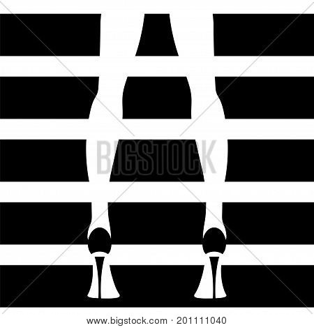 Woman's legs in high heels. Stock vector illustration of fashionable woman in trendy shoes in glamour vogue style.